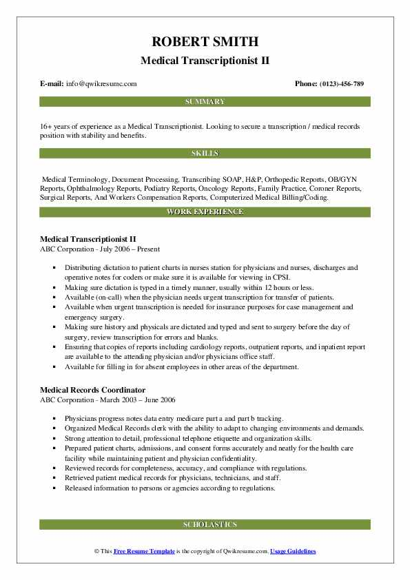 medical transcriptionist resume samples