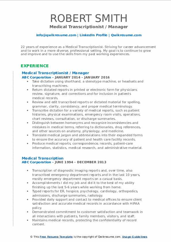 Medical Transcriptionist / Manager Resume Example