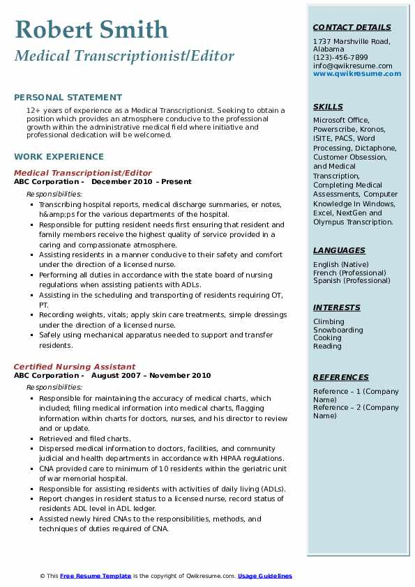 Medical Transcriptionist Resume Samples Qwikresume
