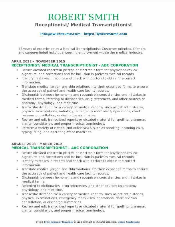 medical transcriptionist resume samples