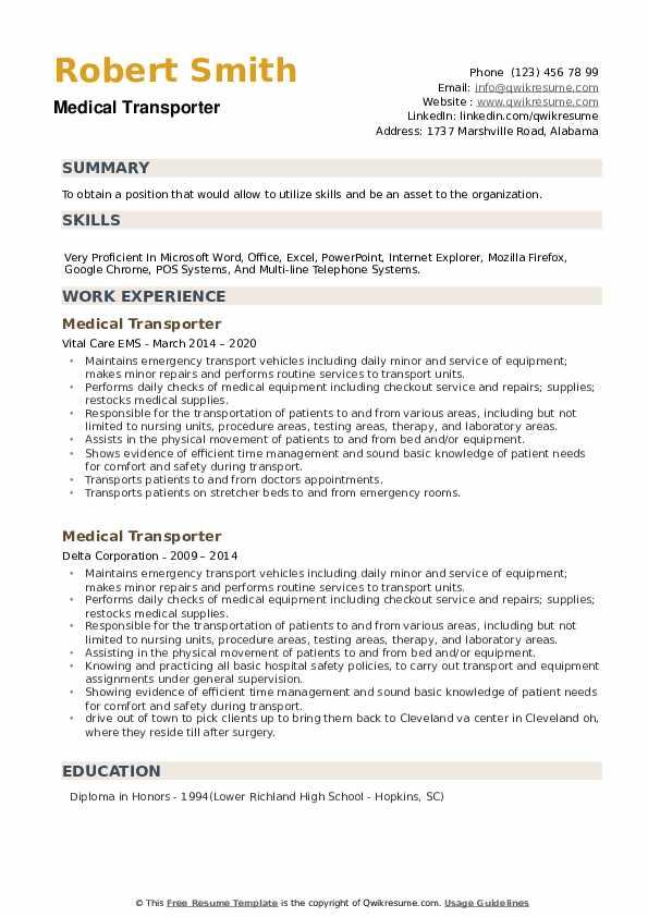Medical Transporter Resume example