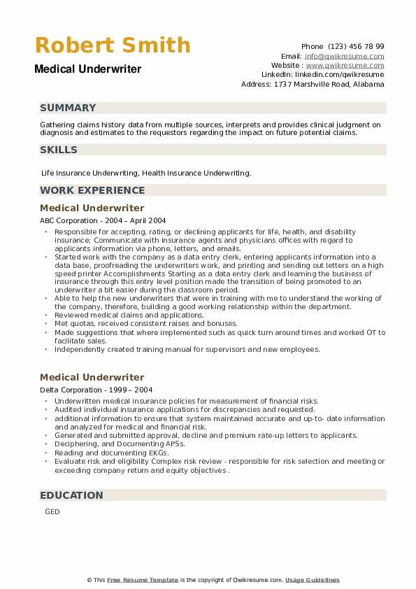 Medical Underwriter Resume example