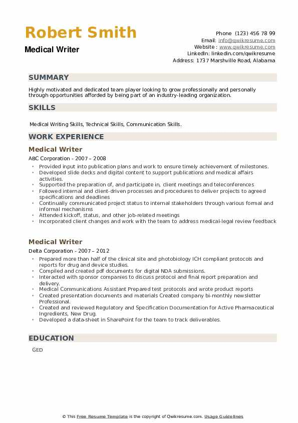 Medical Writer Resume example