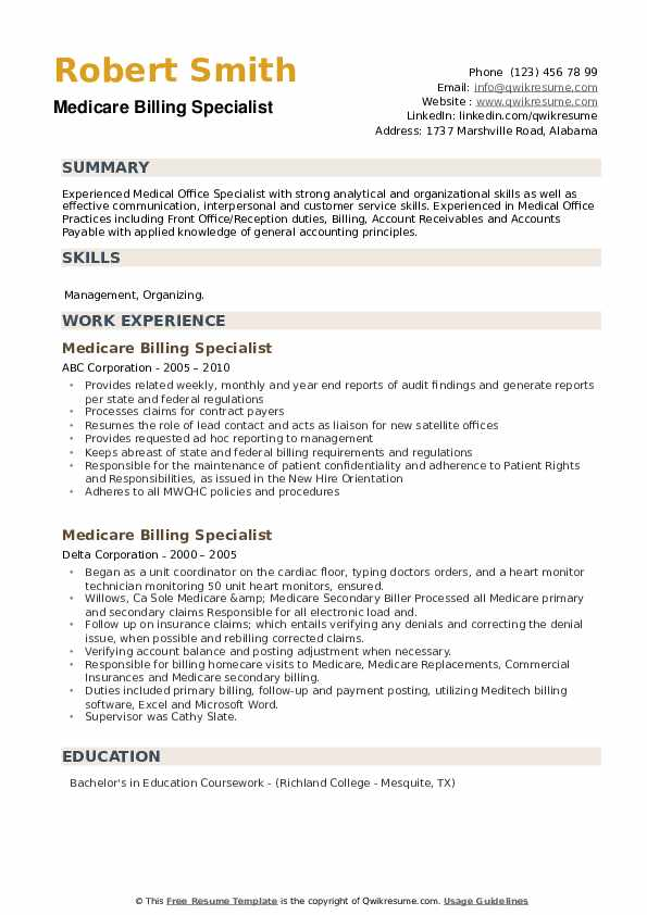 Medicare Billing Specialist Resume example