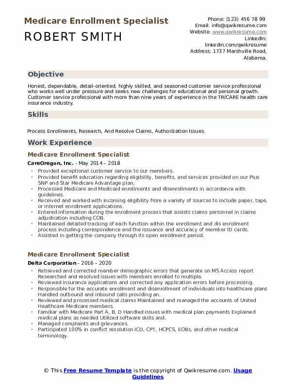 medicare enrollment specialist resume samples  qwikresume