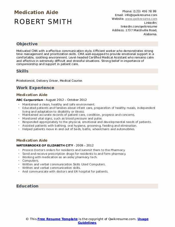 Medication Aide Resume Model