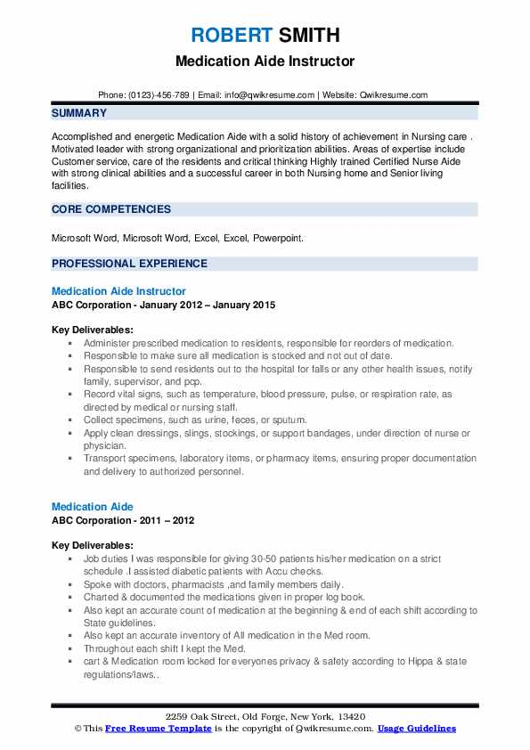 Medication Aide Instructor Resume Model
