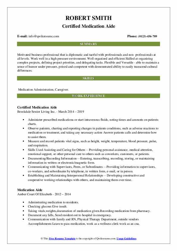 Certified Medication Aide Resume Sample