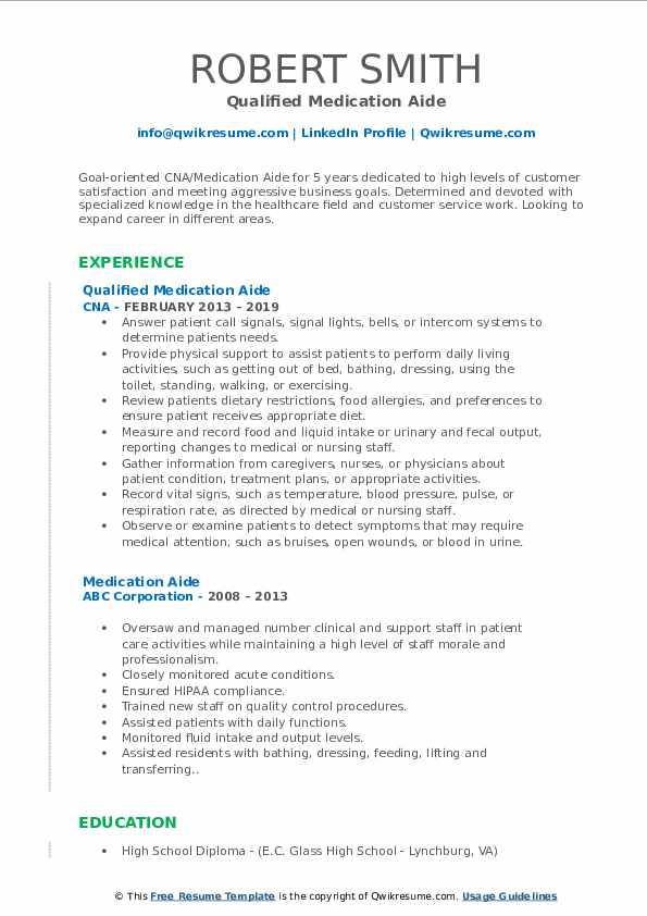 Qualified Medication Aide Resume Format