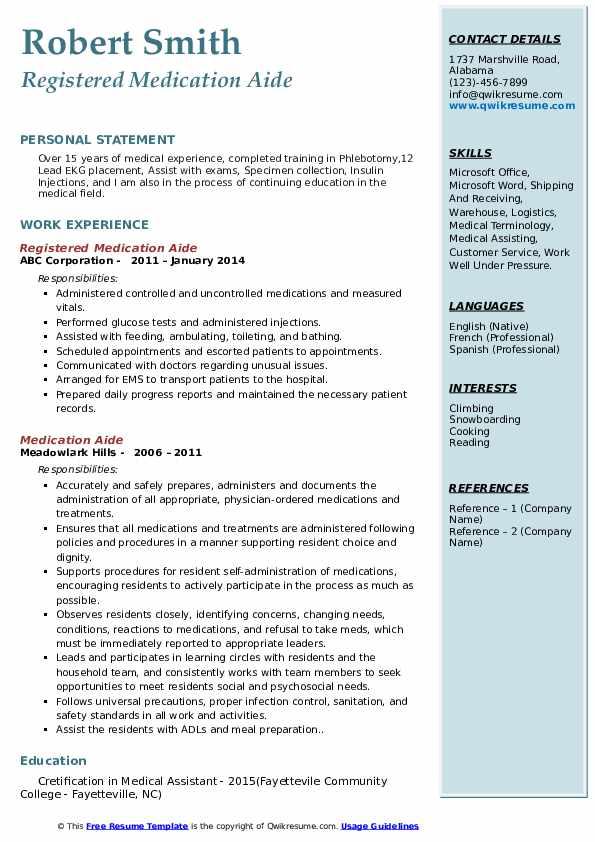 Registered Medication Aide Resume Model