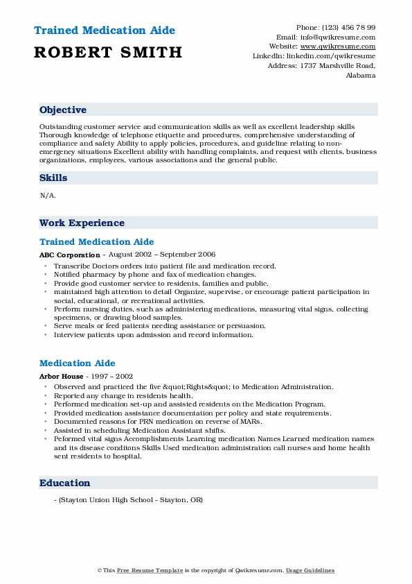 Trained Medication Aide Resume Format
