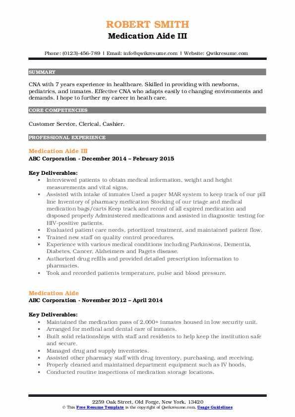 Medication Aide III Resume Sample