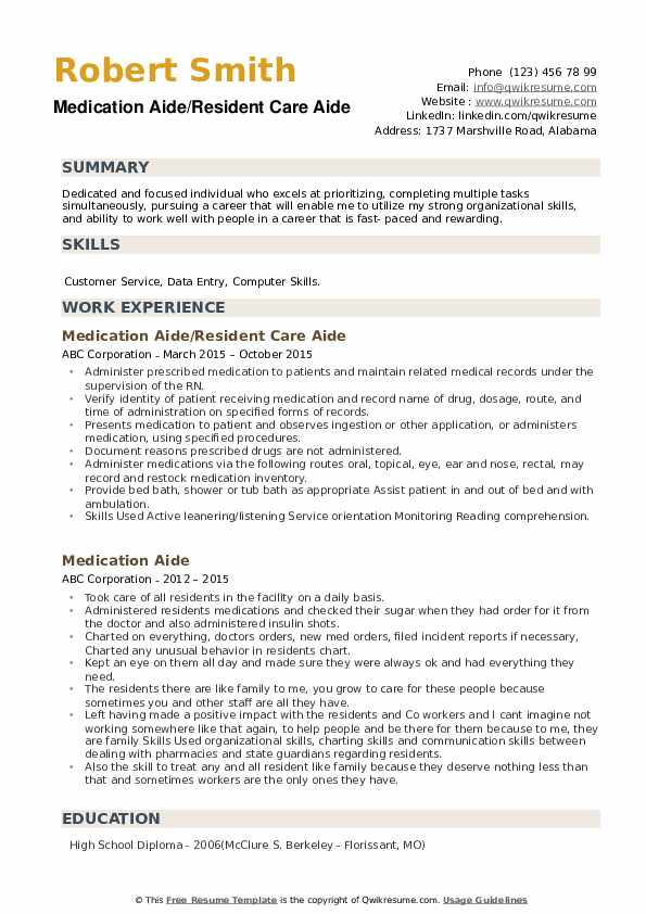 Medication Aide/Resident Care Aide Resume Model