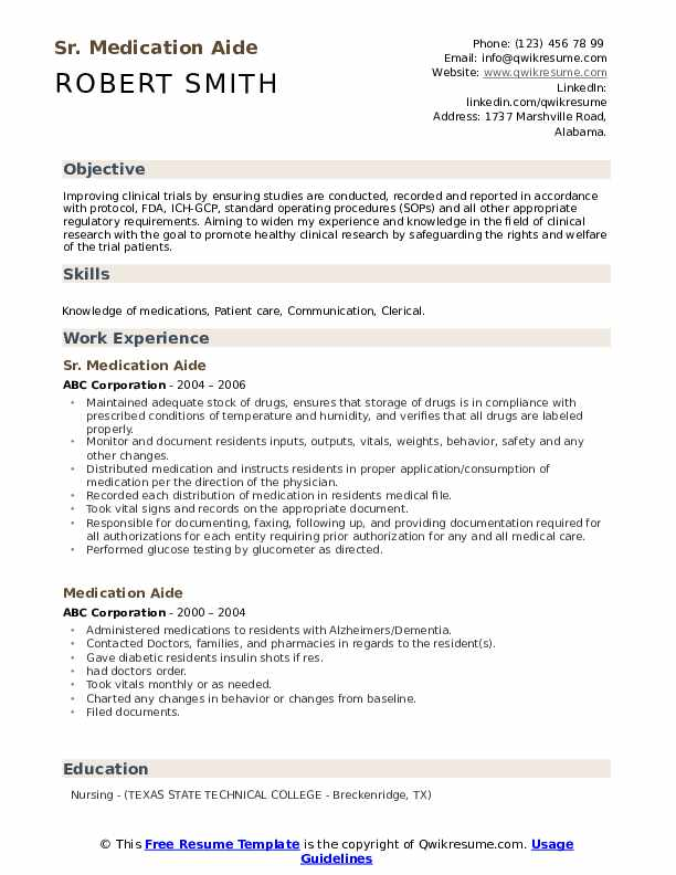 Sr. Medication Aide Resume Example