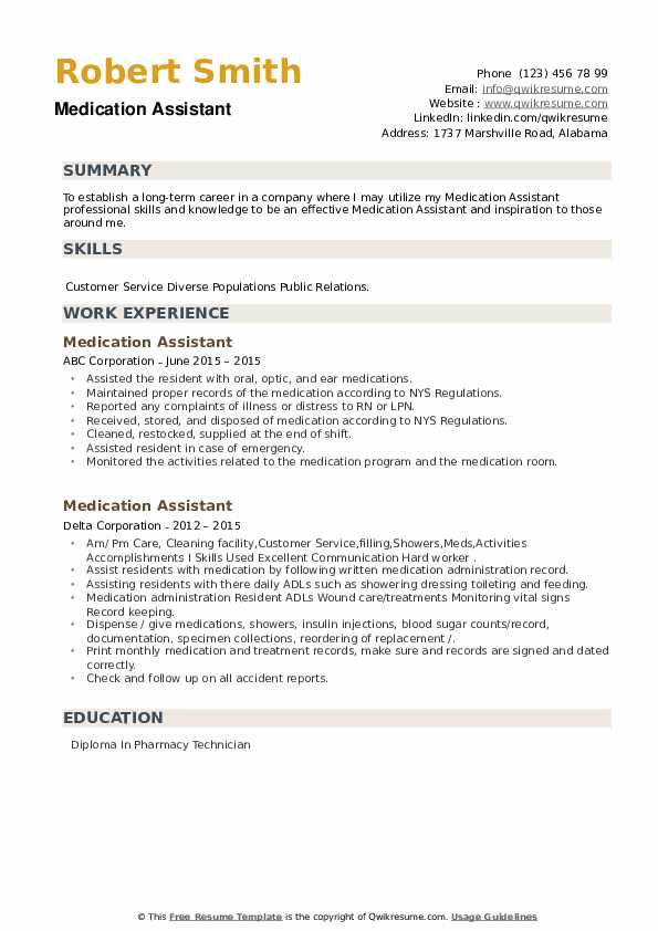 Medication Assistant Resume example