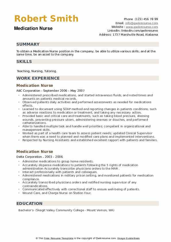 Medication Nurse Resume example