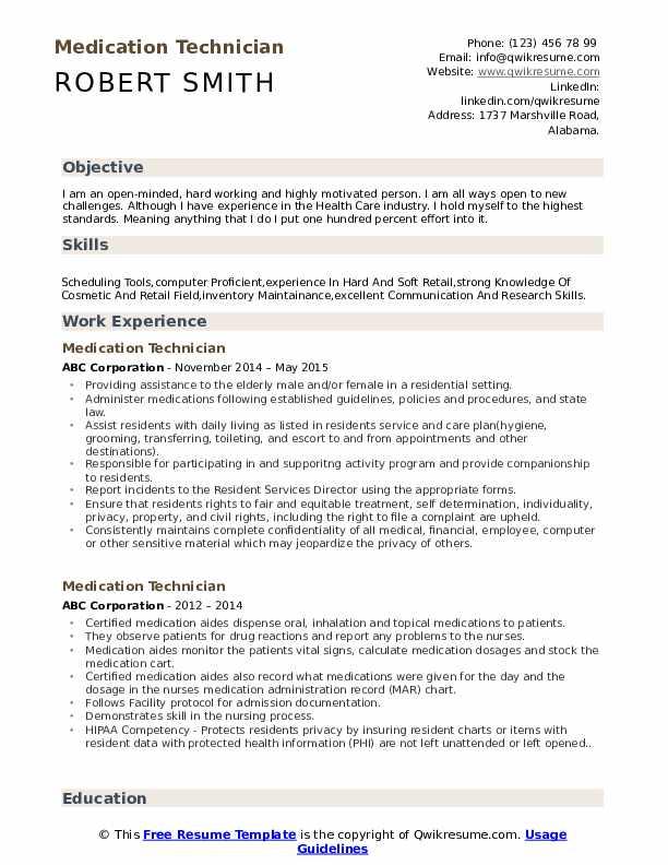 Medication Technician Resume Sample