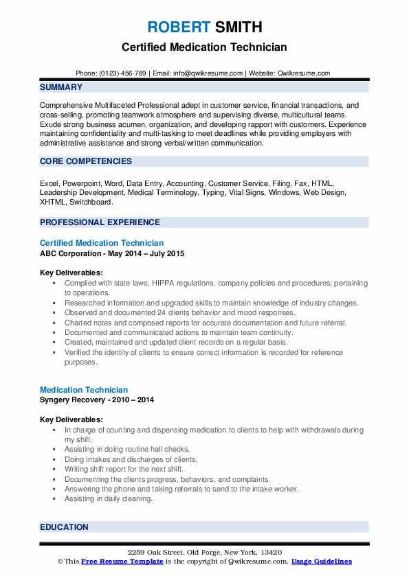 Certified Medication Technician Resume Example