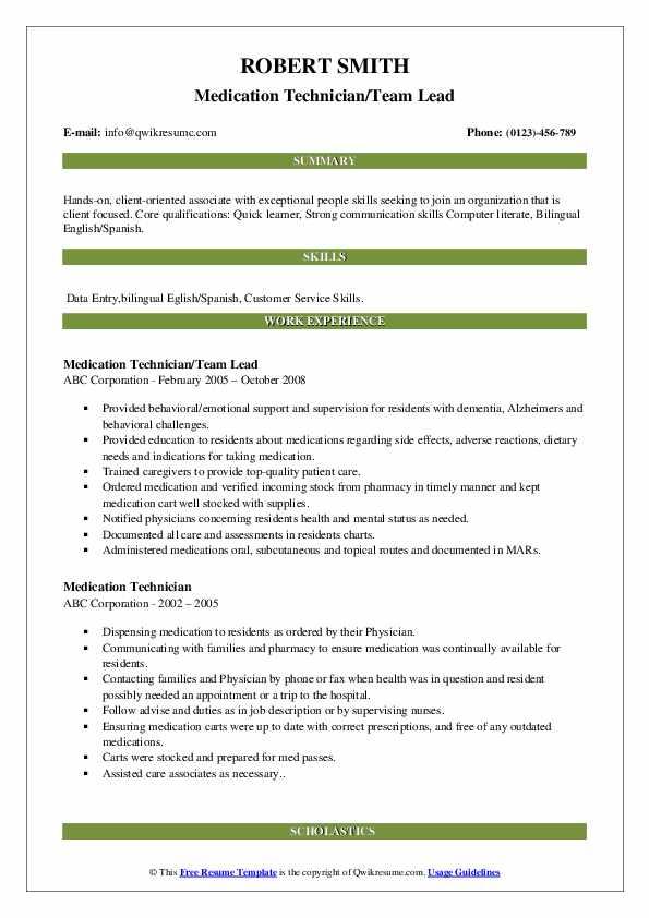 Medication Technician/Team Lead Resume Format