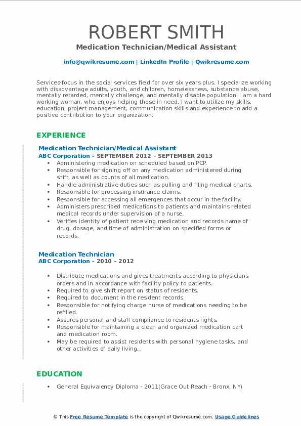 Medication Technician/Medical Assistant Resume Format