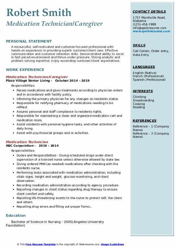 Medication Technician/Caregiver Resume Template