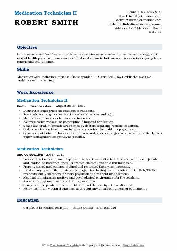 Medication Technician II Resume Example