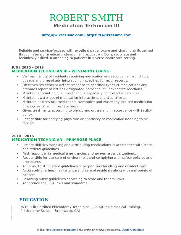 Medication Technician III Resume Model