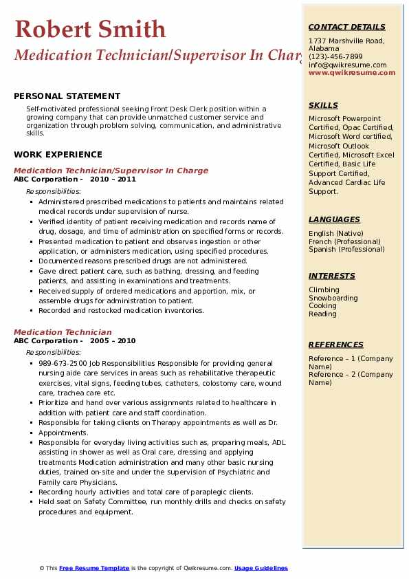 Medication Technician/Supervisor In Charge Resume Template