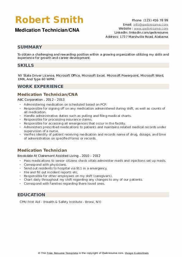 Medication Technician/CNA Resume Format