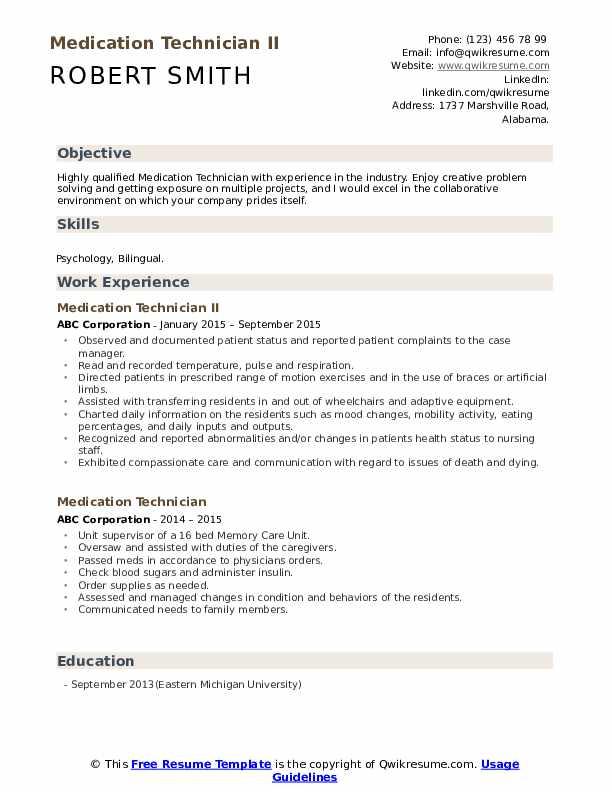 Medication Technician II Resume Format