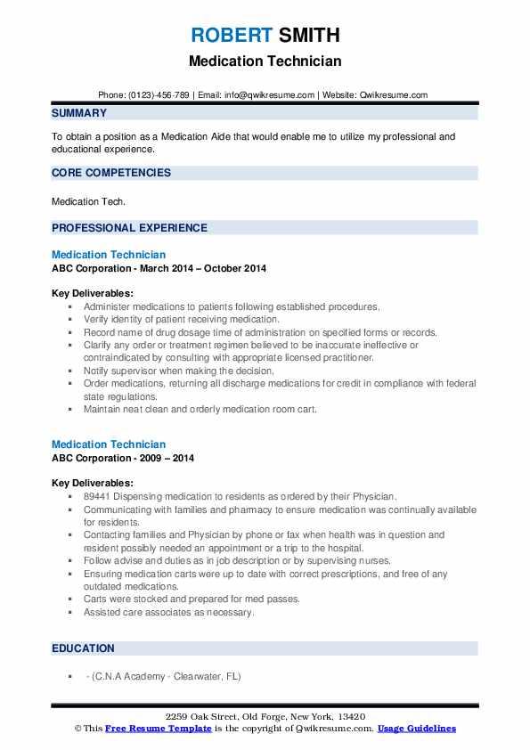 Medication Technician Resume example