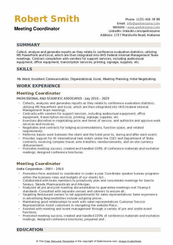 Meeting Coordinator Resume example