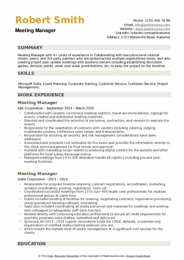 Meeting Manager Resume example