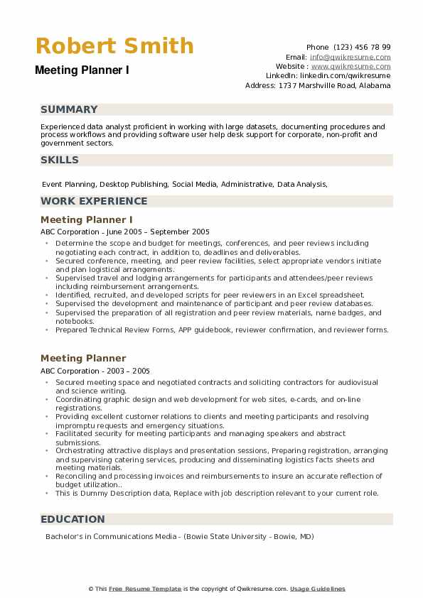 Meeting Planner I Resume Template