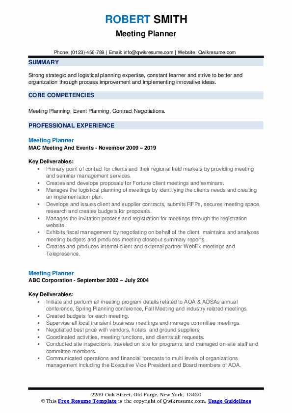 Meeting Planner Resume example