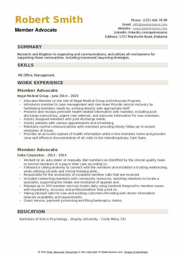 Member Advocate Resume example