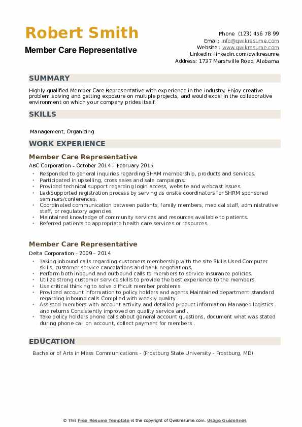 Member Care Representative Resume example
