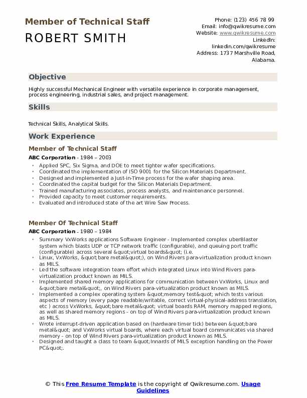 Member Of Technical Staff Resume example