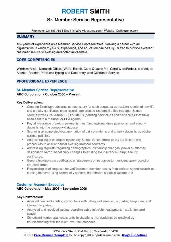 Sr. Member Service Representative Resume Format