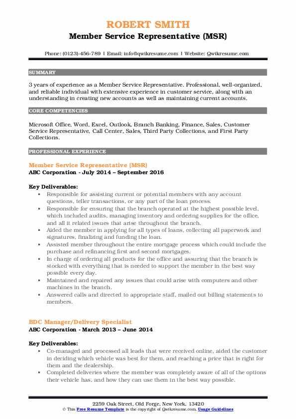 Member Service Representative (MSR) Resume Model