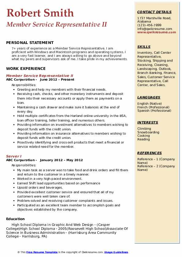Member Service Representative II Resume Template