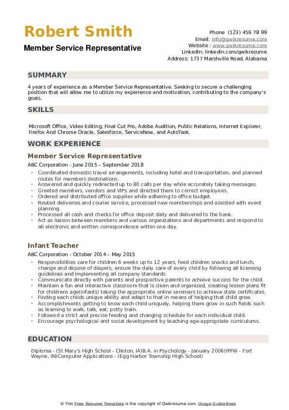 Member Service Representative Resume example