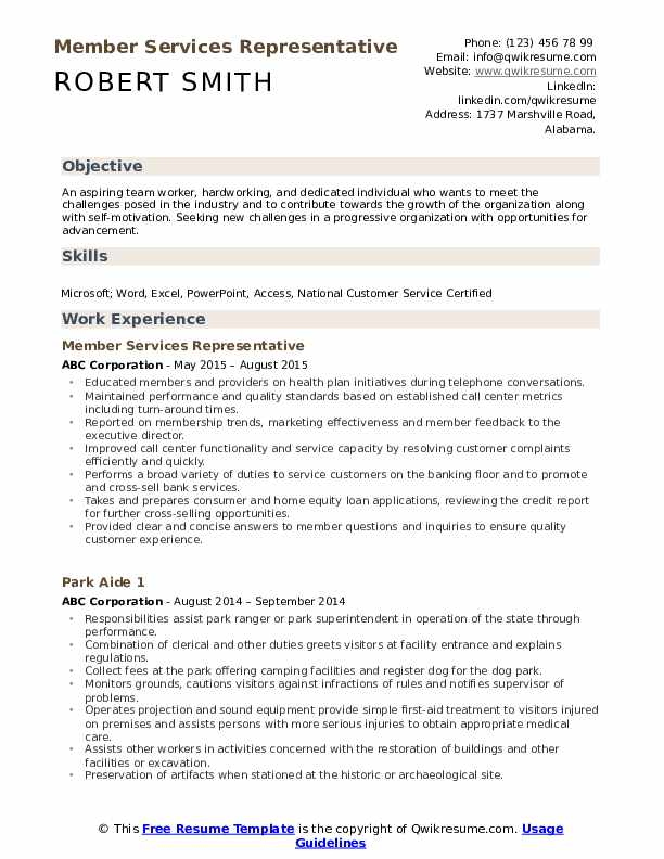 Member Services Representative Resume Example