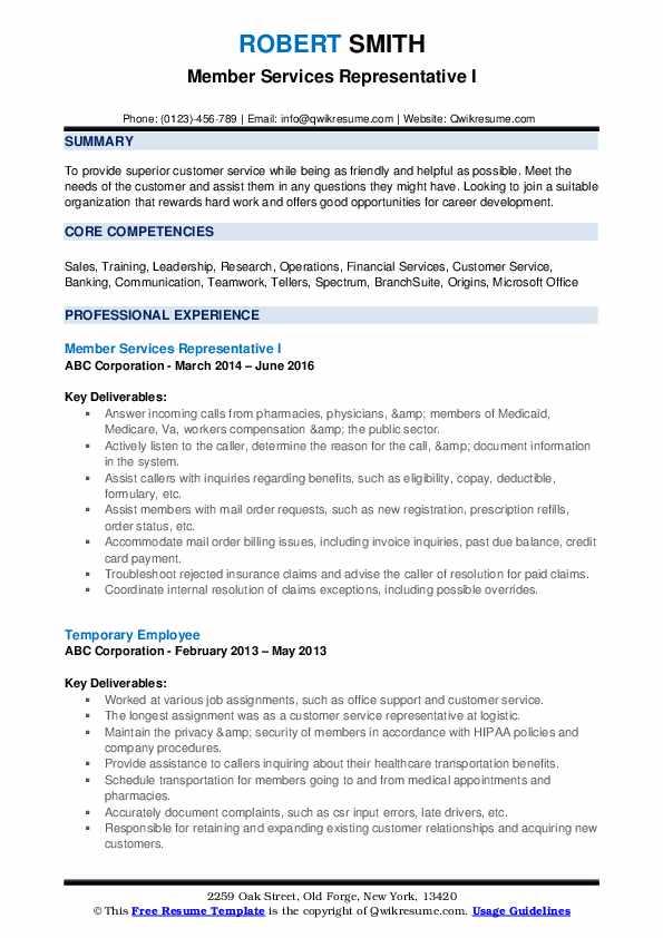 Member Services Representative I Resume Model
