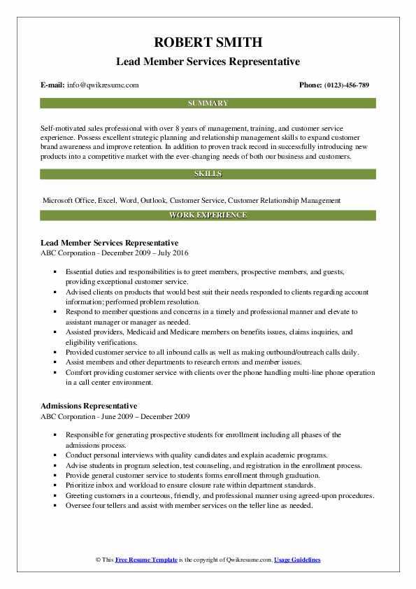 Lead Member Services Representative Resume Template