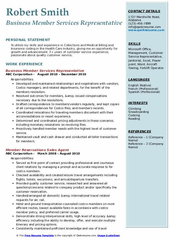 Business Member Services Representative Resume Model