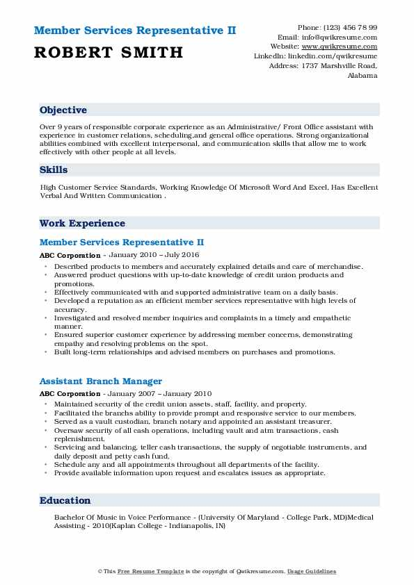 Member Services Representative II Resume Format