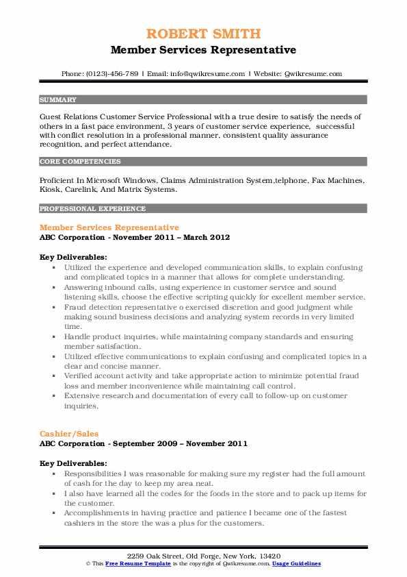 Member Services Representative Resume Sample