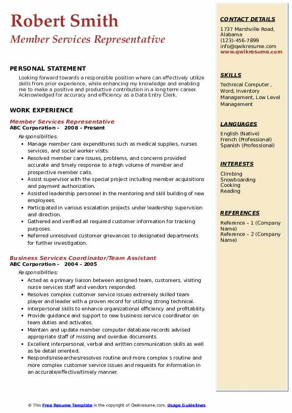 Member Services Representative Resume Samples Qwikresume