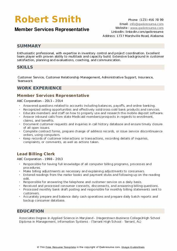 Member Services Representative Resume example